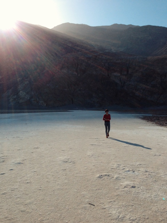 Walking on salt at Badwater Basin in Death Valley National Park.