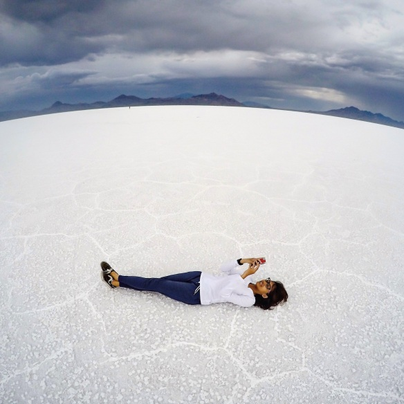 While in Bonneville Salt Flats.